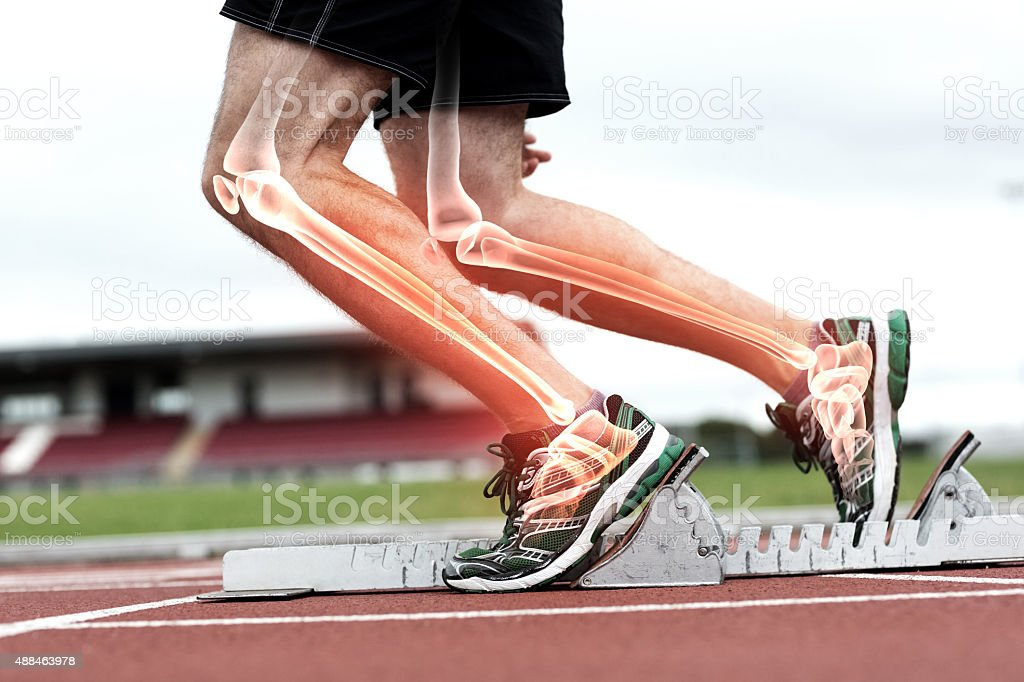Highlighted bones of man about to race stock photo