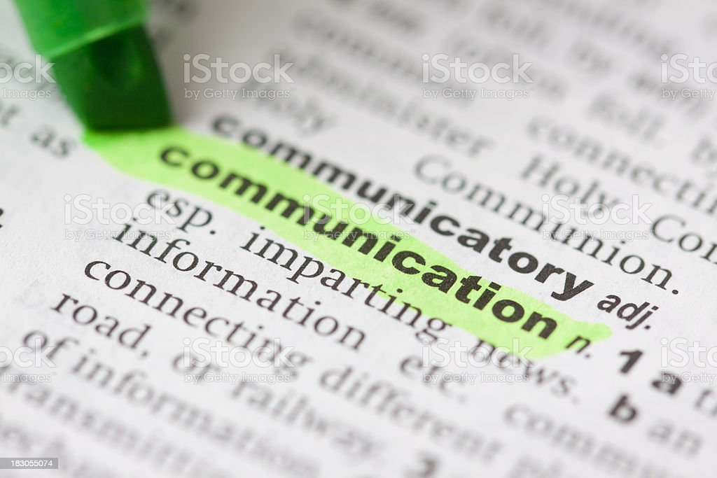 Highlighted communication in dictionary royalty-free stock photo