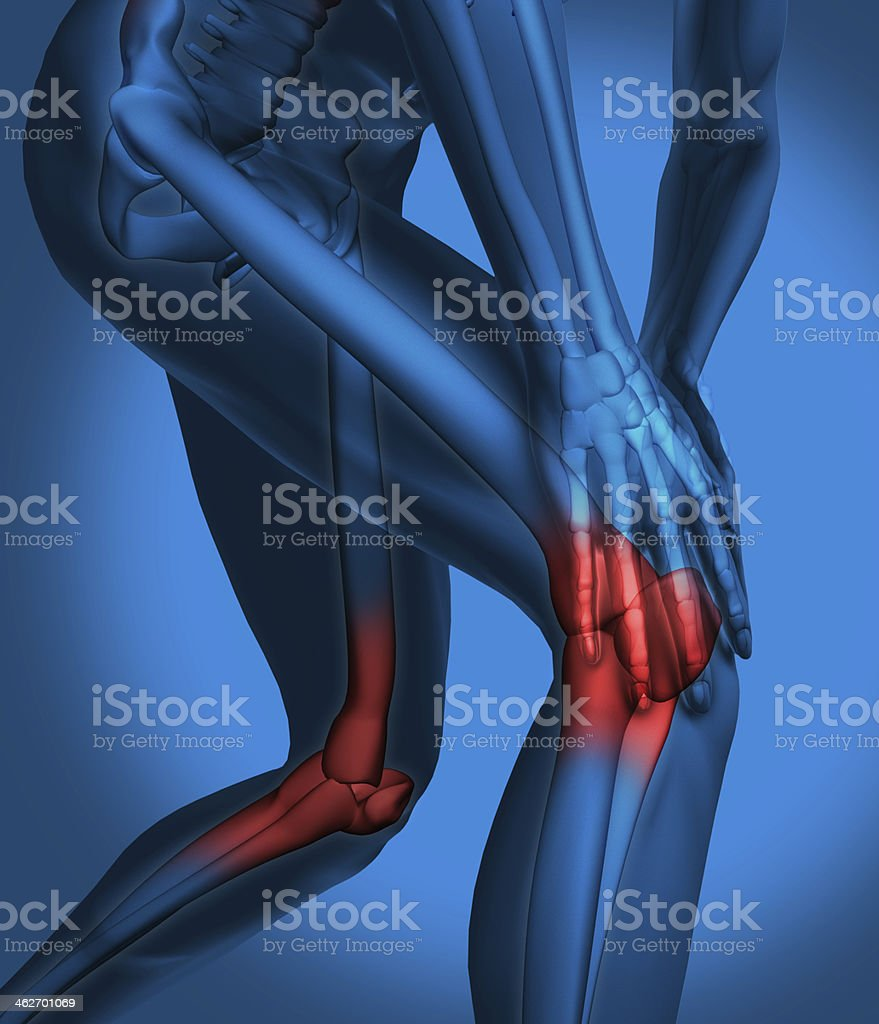 Highlighted knee pain royalty-free stock photo