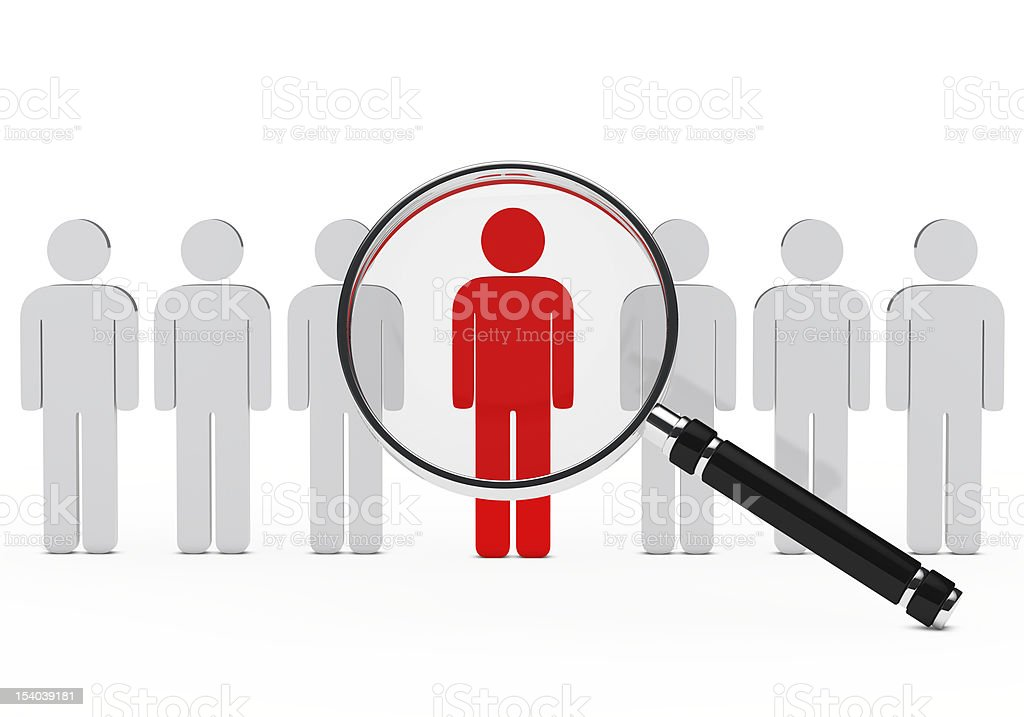 Highlighted red individual in row of gray figures stock photo