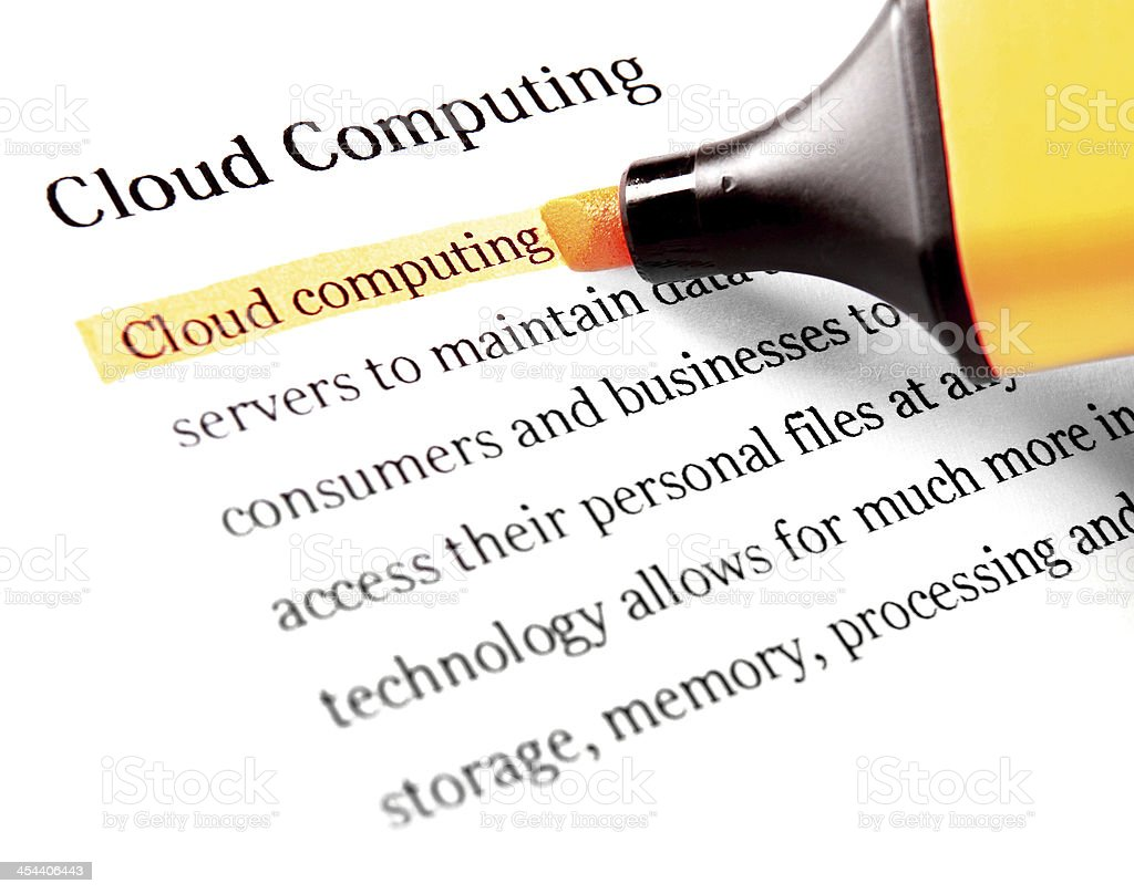 Highlighter and word cloud computing royalty-free stock photo