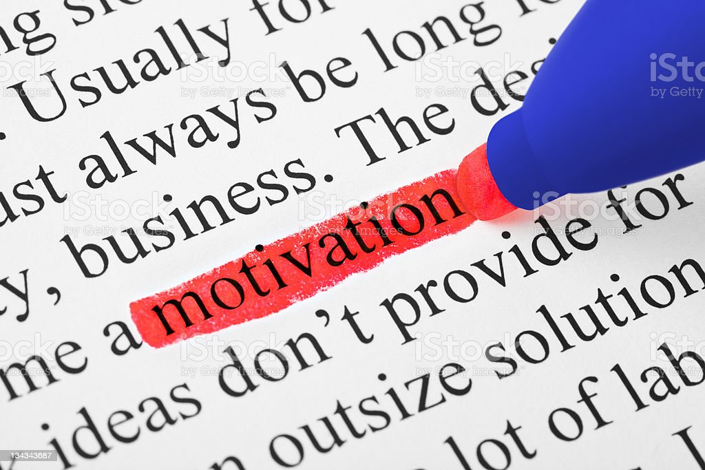 Highlighter and word motivation royalty-free stock photo