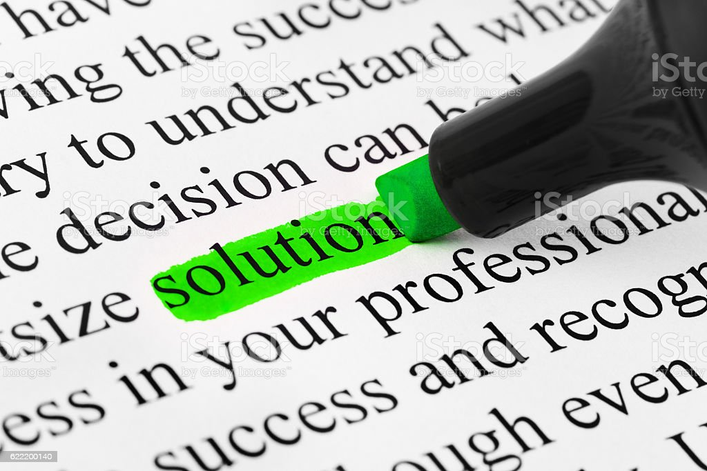Highlighter and word solution stock photo