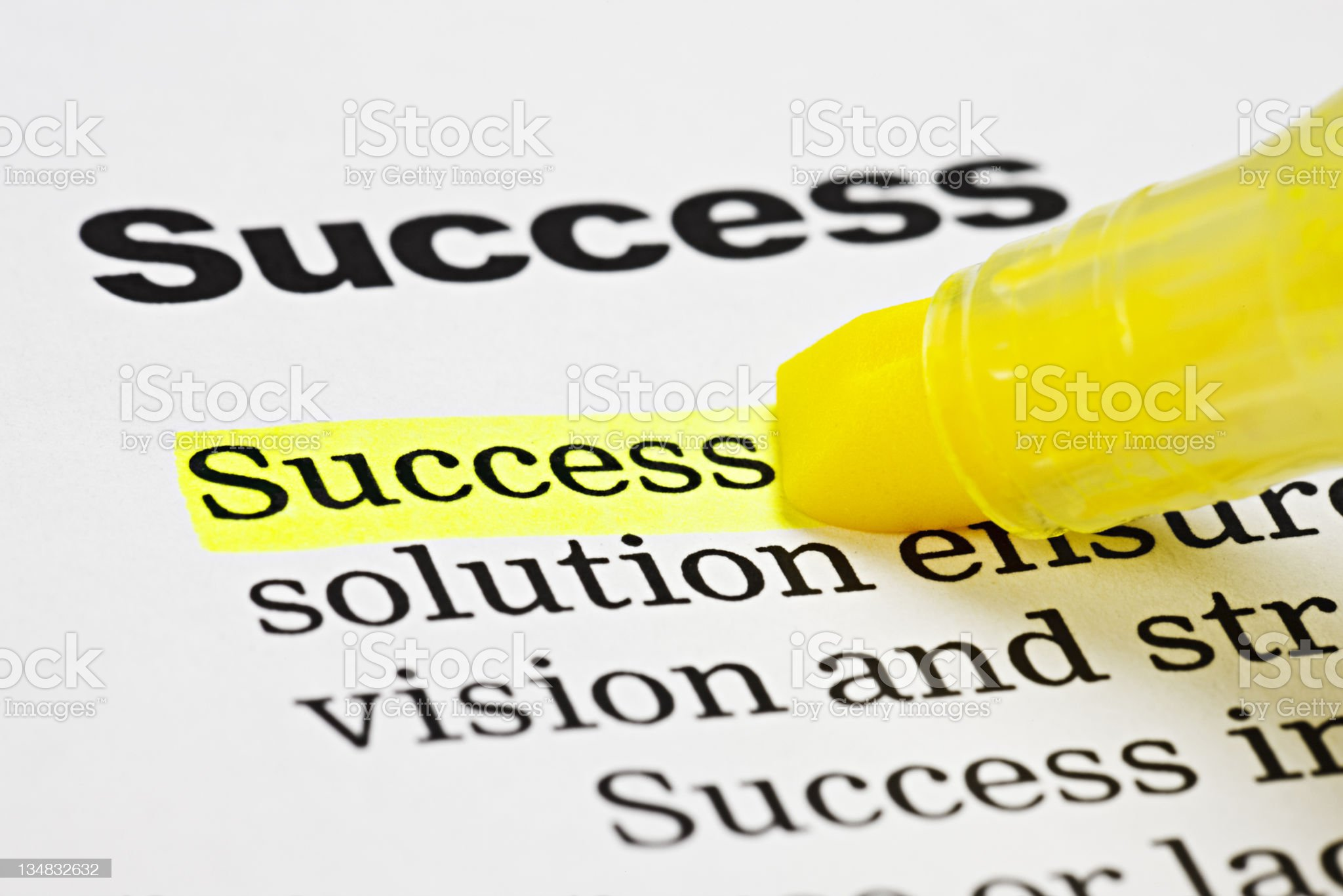Highlighter emphasises the word 'Success' in a document royalty-free stock photo