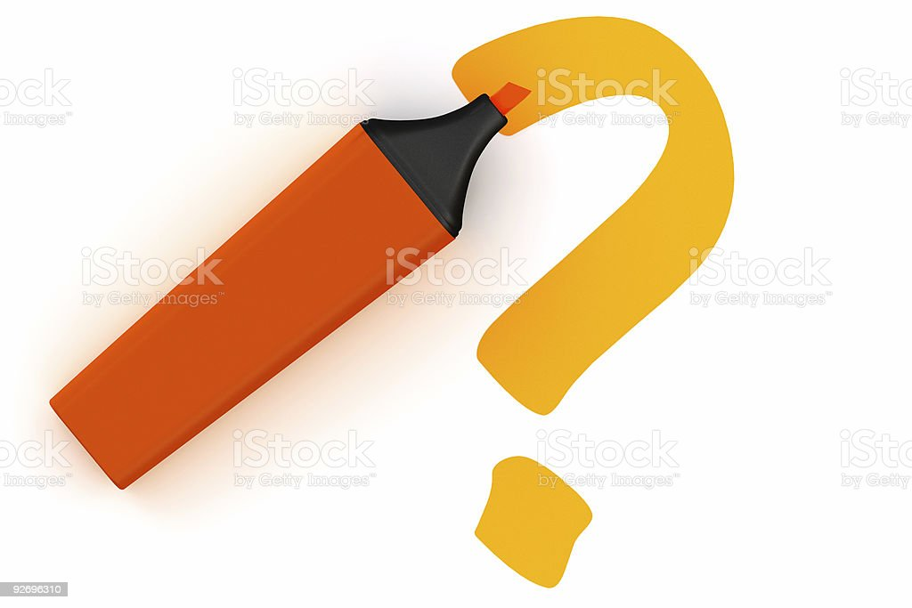Highlighter pen isolated with question mark symbol royalty-free stock photo