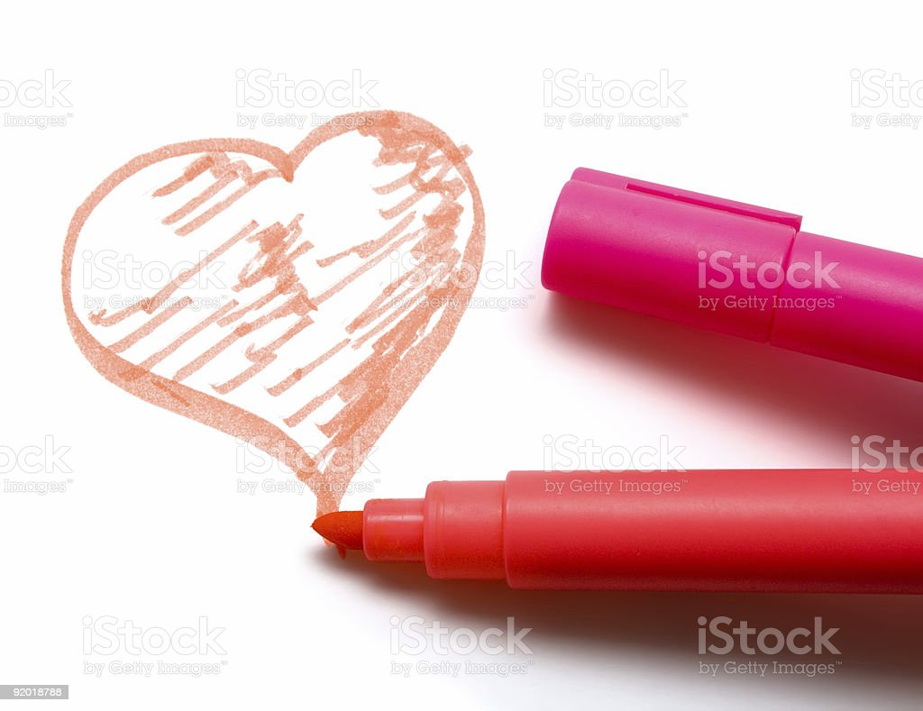 Highlighter pens and heart royalty-free stock photo