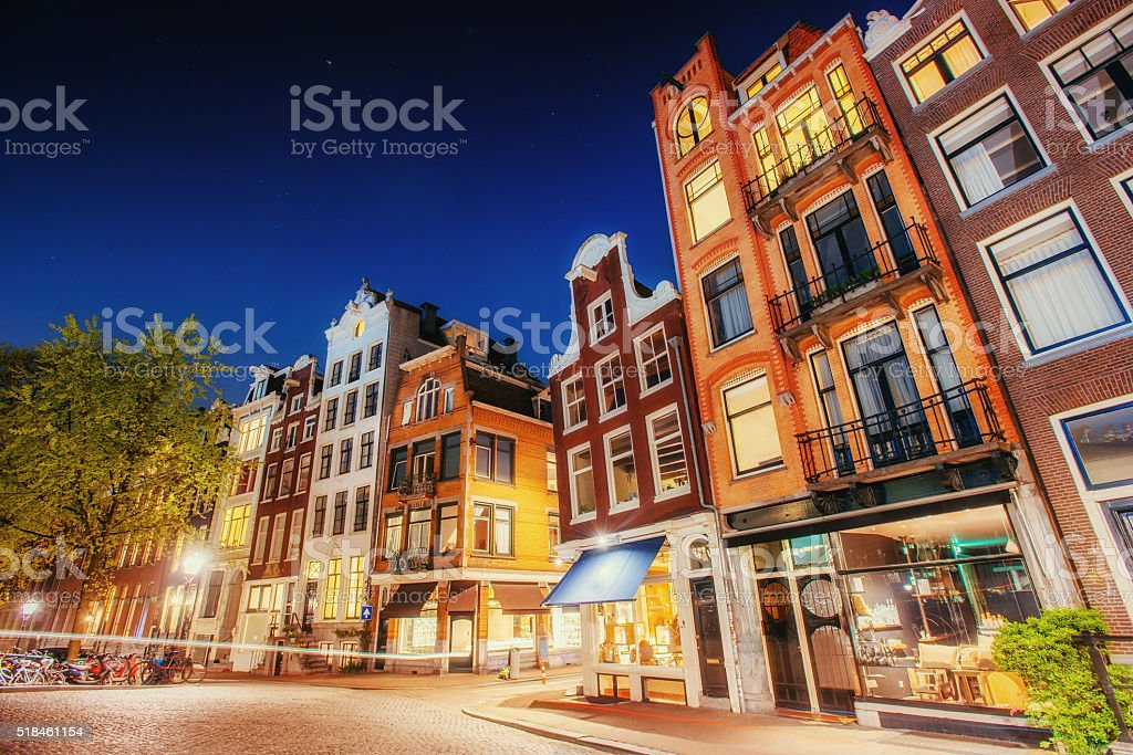 Highlighting buildings and streets Amsterdam, the Netherlands. stock photo