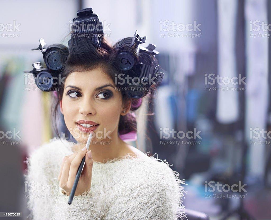 Highlighting her luscious lips stock photo