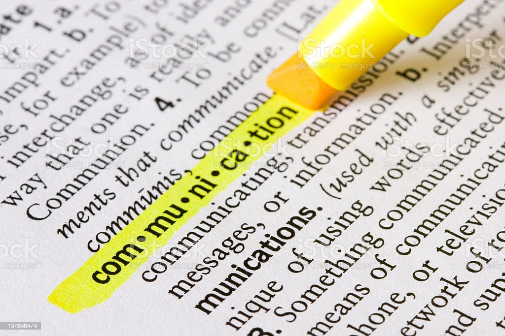 Highlighting the pronunciation of the word communication royalty-free stock photo