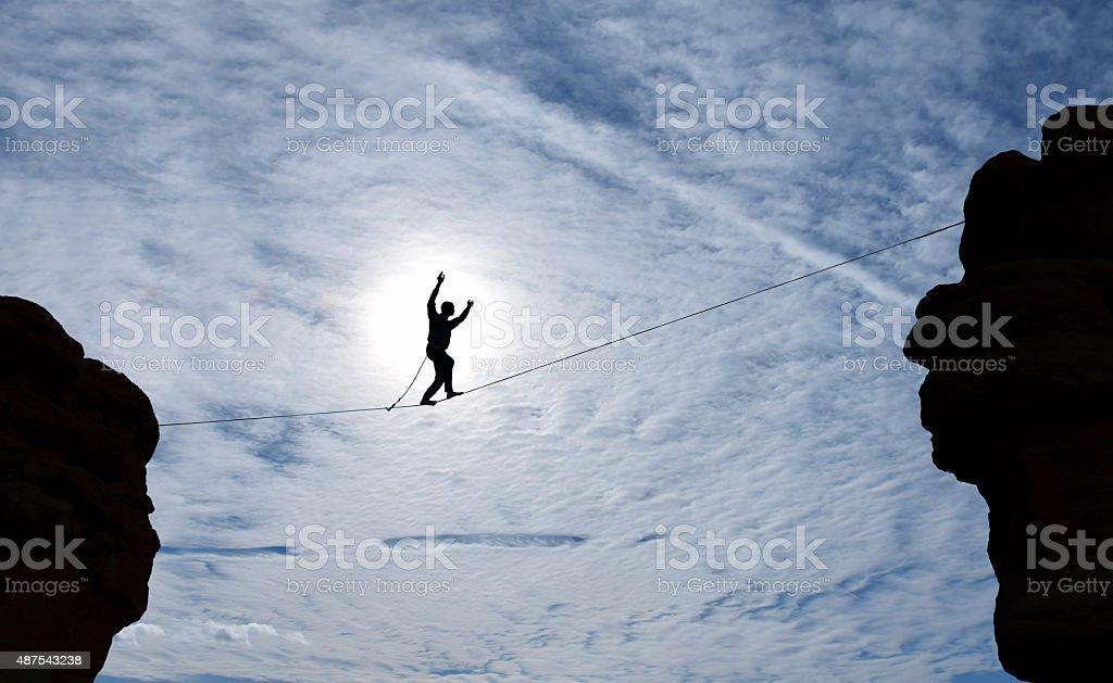 Highline walker silhouette stock photo