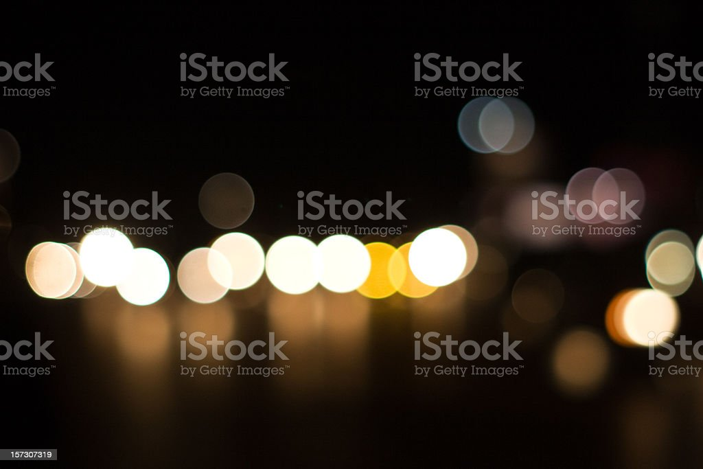 Highly defocused street lights royalty-free stock photo