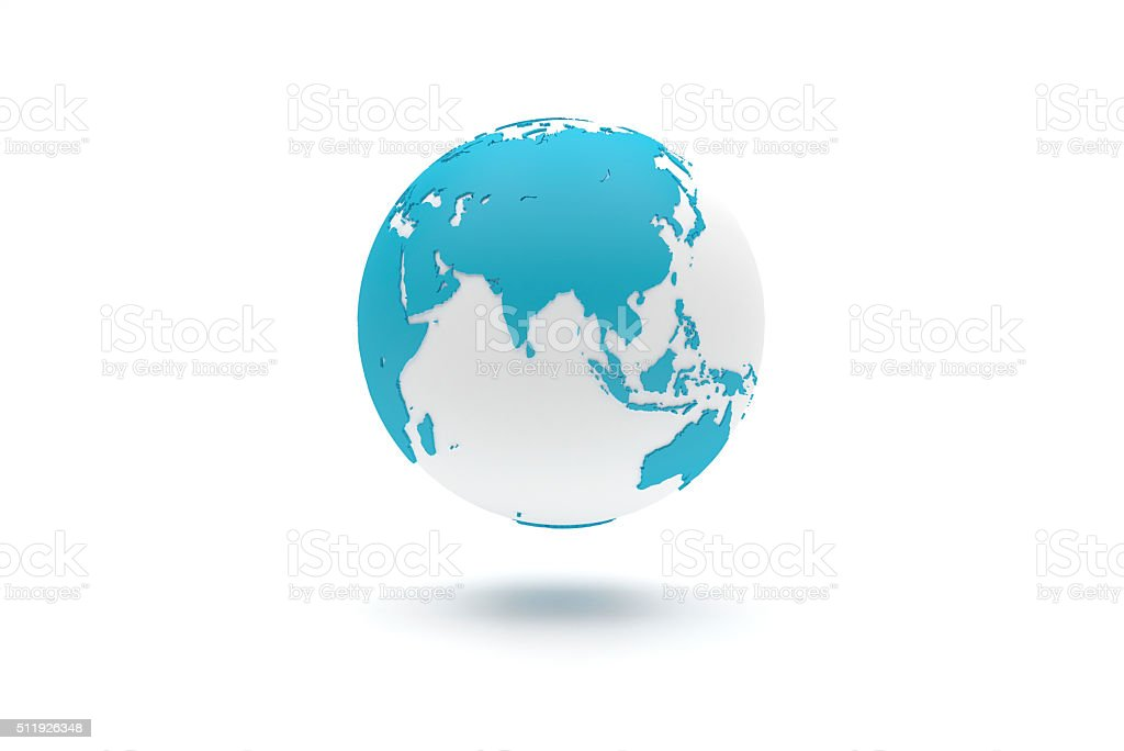 Highly detailed 3D planet Earth globe, Asia stock photo