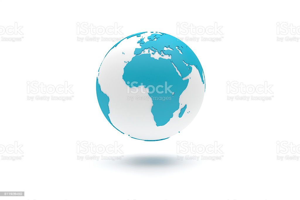 Highly detailed 3D planet Earth globe, Europe and Africa stock photo