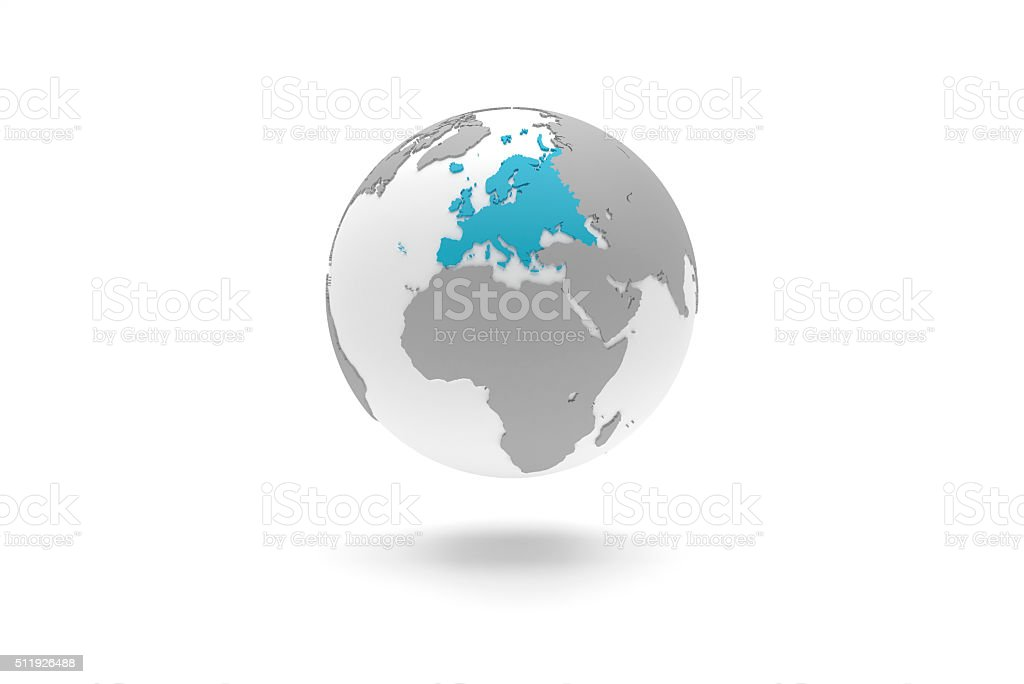 Highly detailed 3D planet Earth globe, Europe stock photo