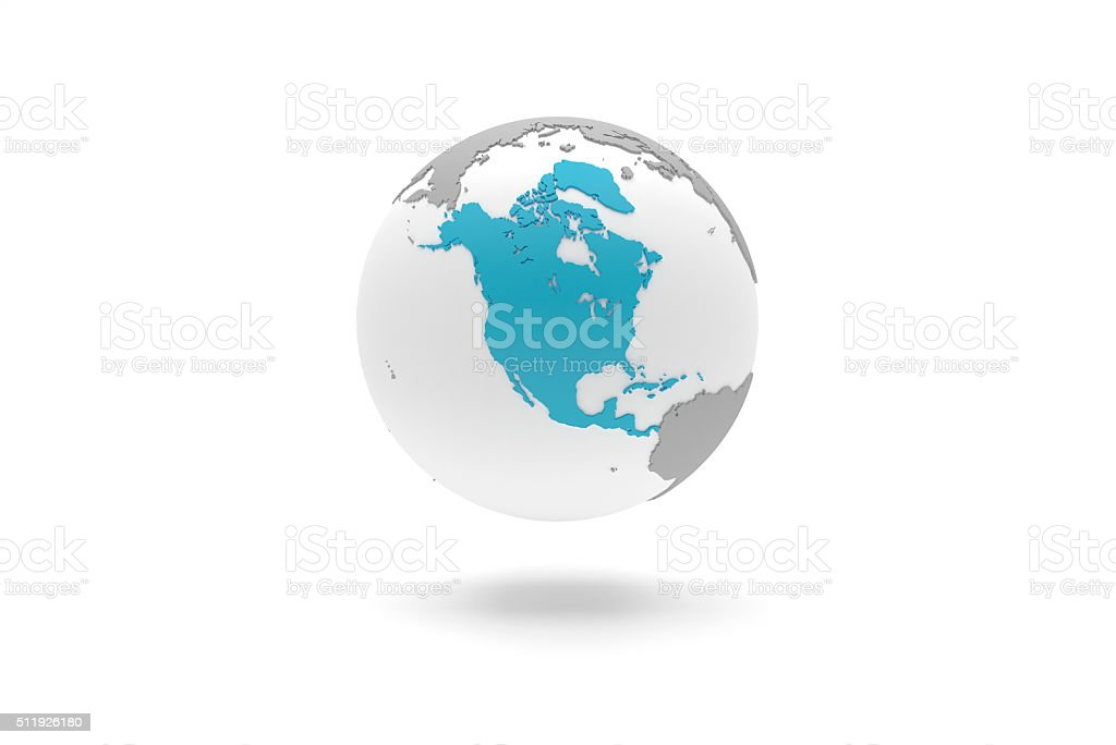 Highly detailed 3D planet Earth globe, North America stock photo