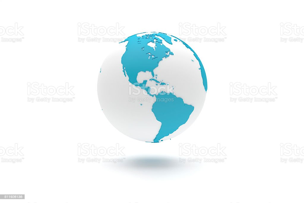 Highly detailed 3D planet Earth globe, The Americas stock photo