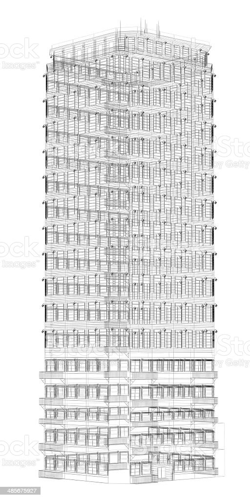 Highly detailed building. Wire-frame render royalty-free stock photo
