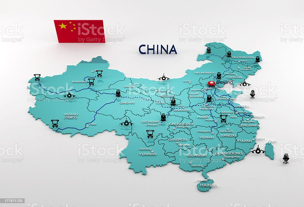 Highly detailed China map stock photo