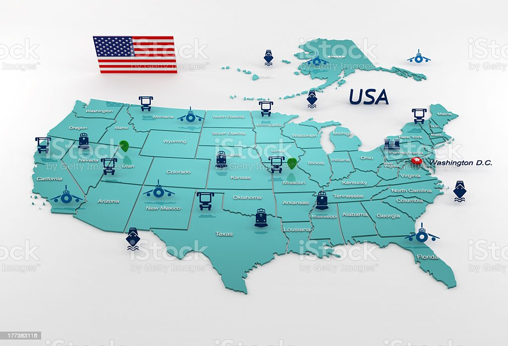 Highly detailed map USA stock photo