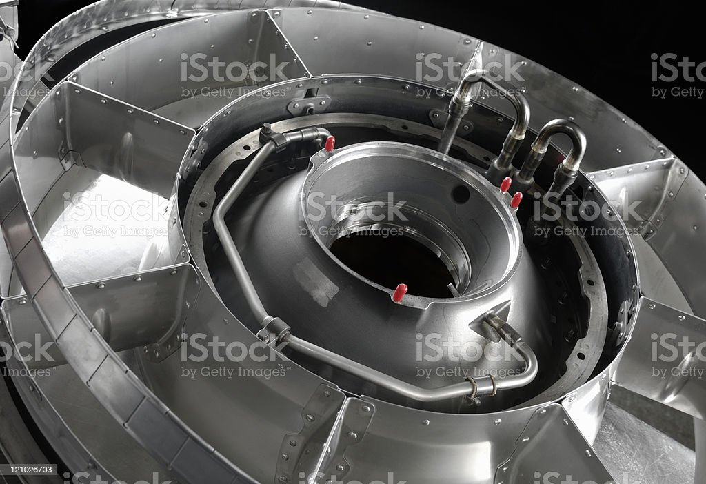 Highly-complex manufactured metal component royalty-free stock photo