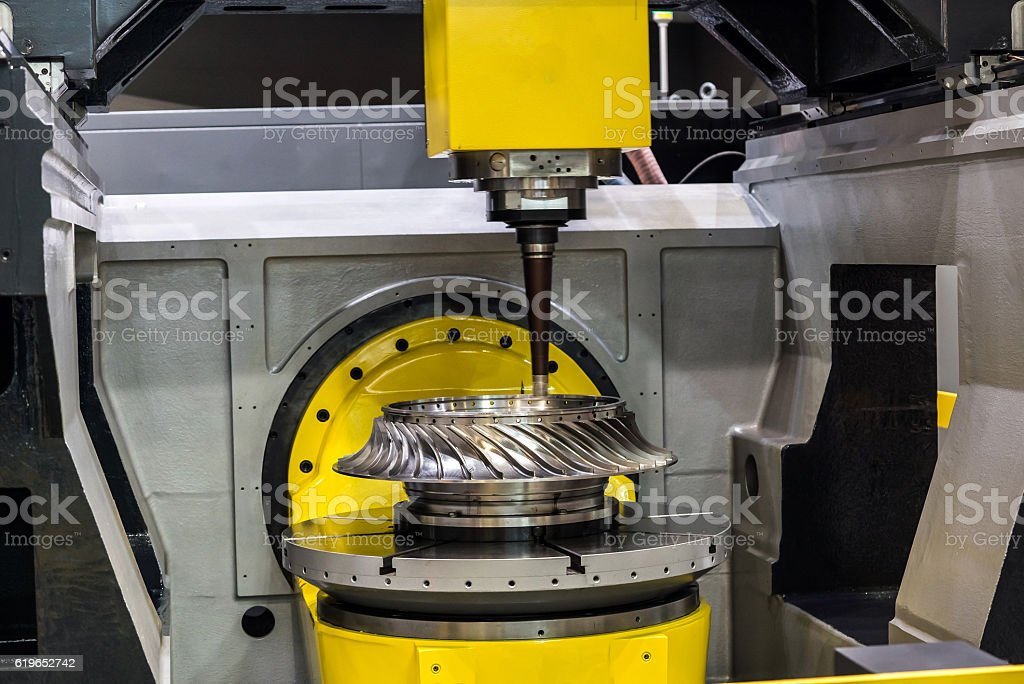 High-performance 5-axis CNC machining centre stock photo