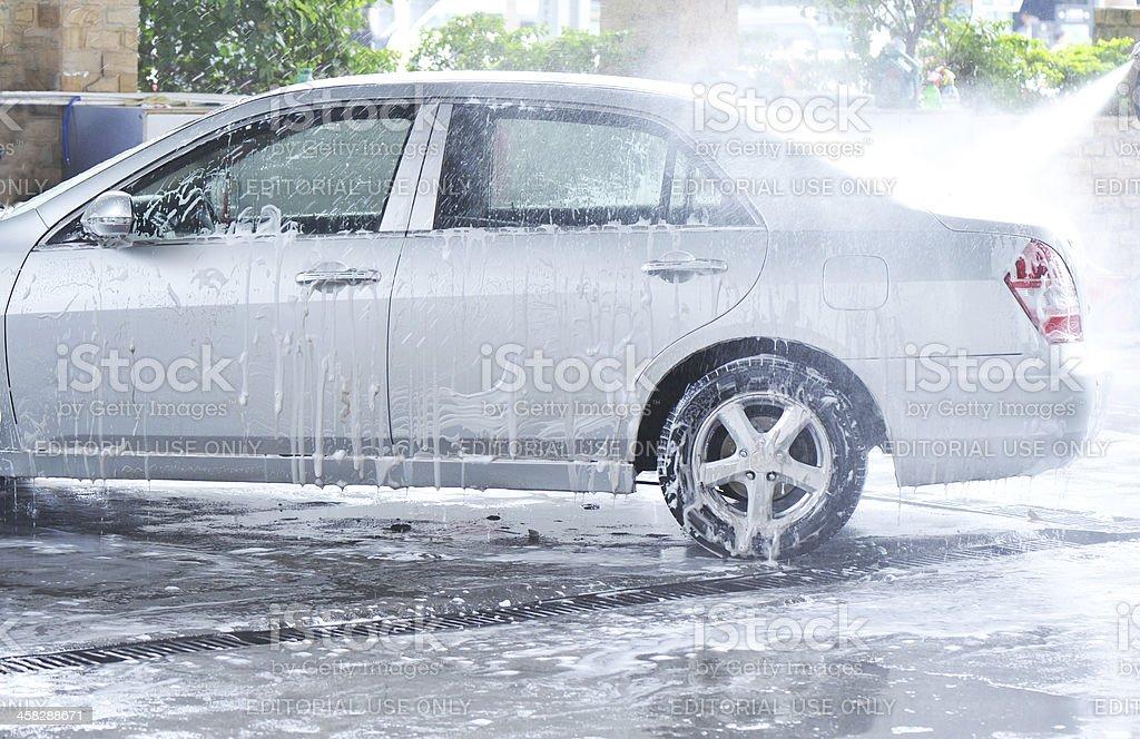 high-pressure car-washing royalty-free stock photo