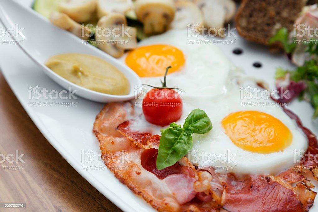 High-protein breakfast. stock photo