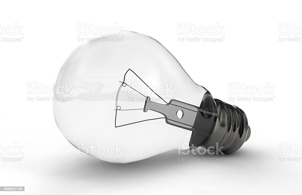 High-quality lightbulb with shadow 3d render stock photo