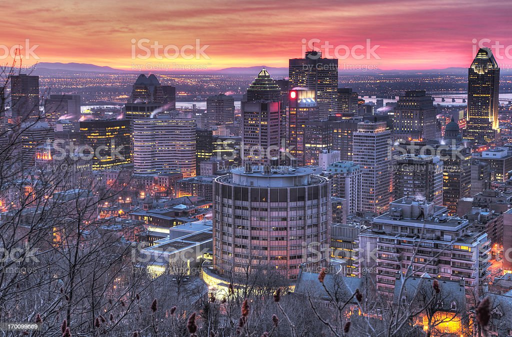 HighR Picture of the Sunrise on Montreal royalty-free stock photo