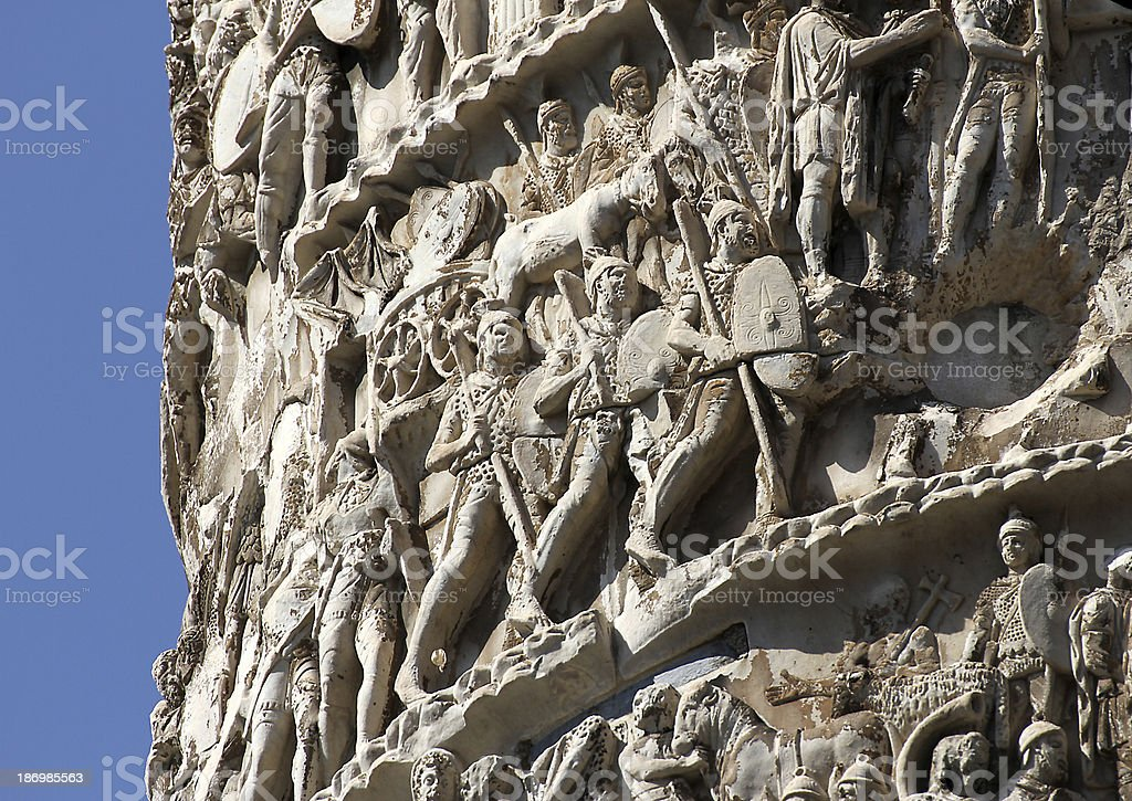 high-reliefs with scenes of war and many Romans warriors  sculpt stock photo