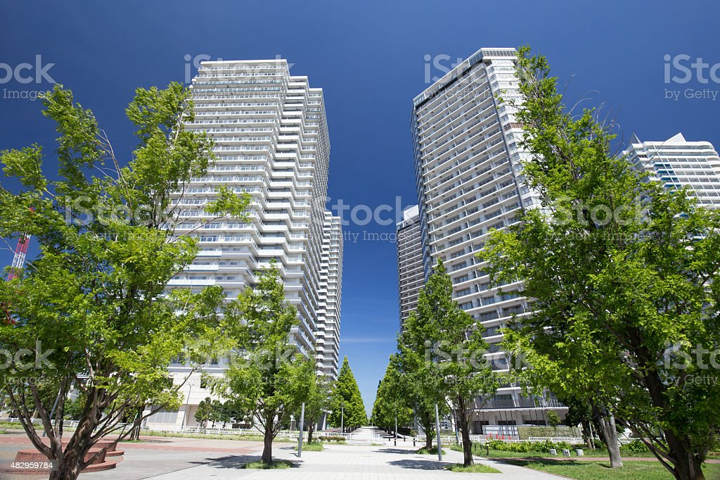 High-rise apartment and street trees of green stock photo