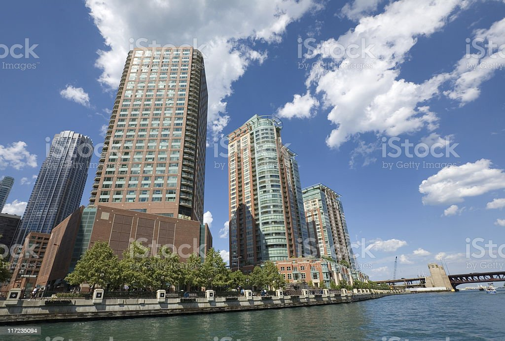 Highrise apartment buildings seen from a tour boat royalty-free stock photo