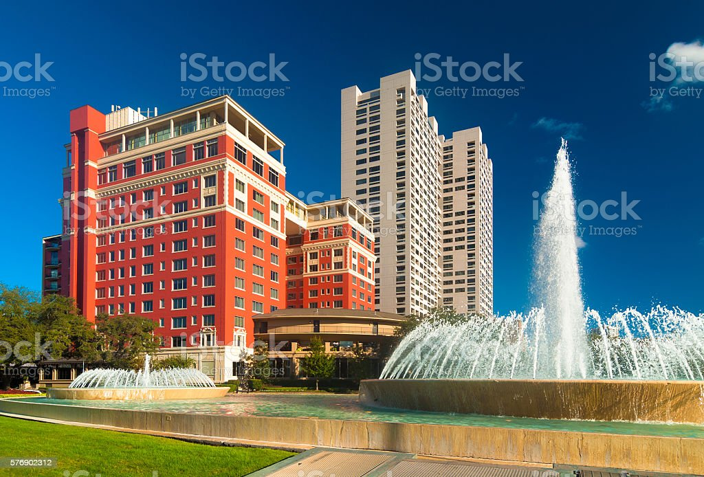 Highrise apartments in the Museum District in Houston, with fountains stock photo