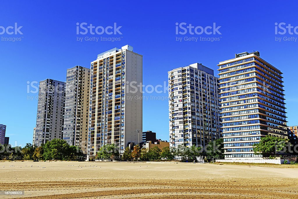 Highrise apartments overlooking beach in Chicago stock photo