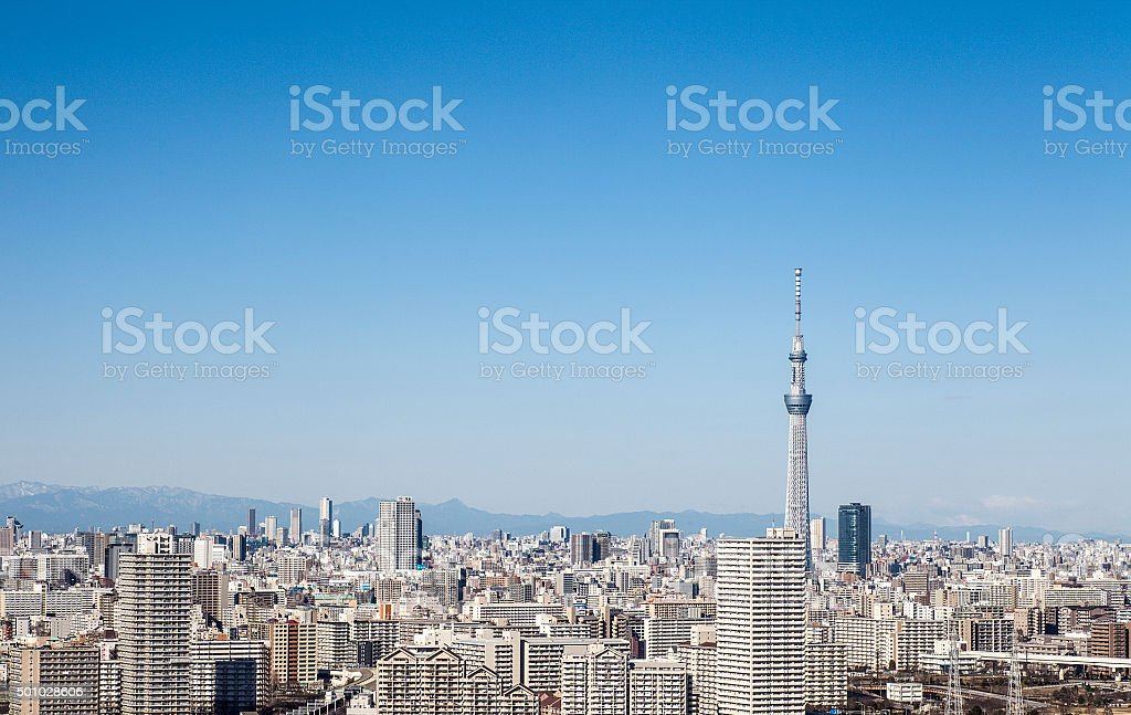 High-rise building and Tokyo Skytree stock photo