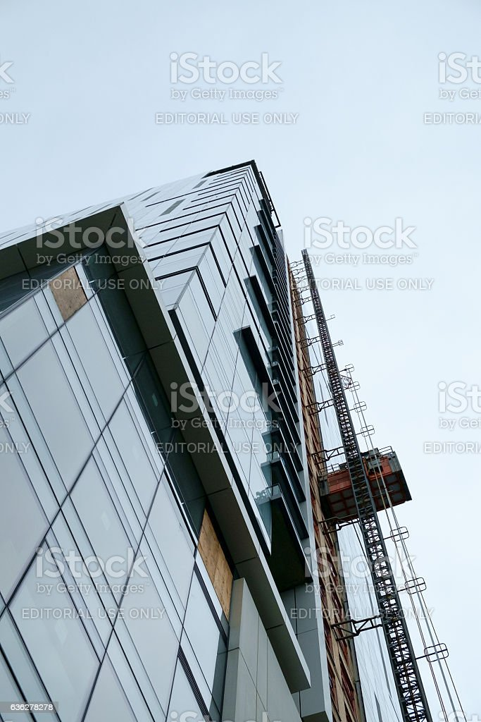 Highrise building under construction with copy space stock photo