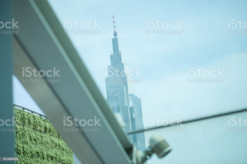 High-rise building with clock. stock photo