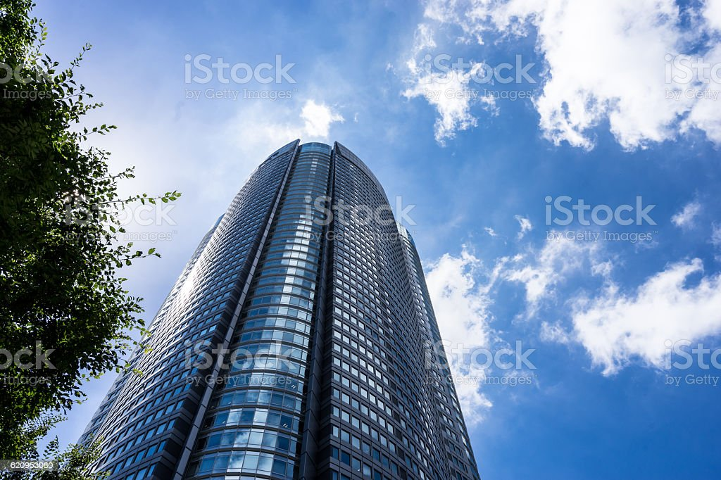 High-rise buildings and blue sky (office buildings and buildings) stock photo