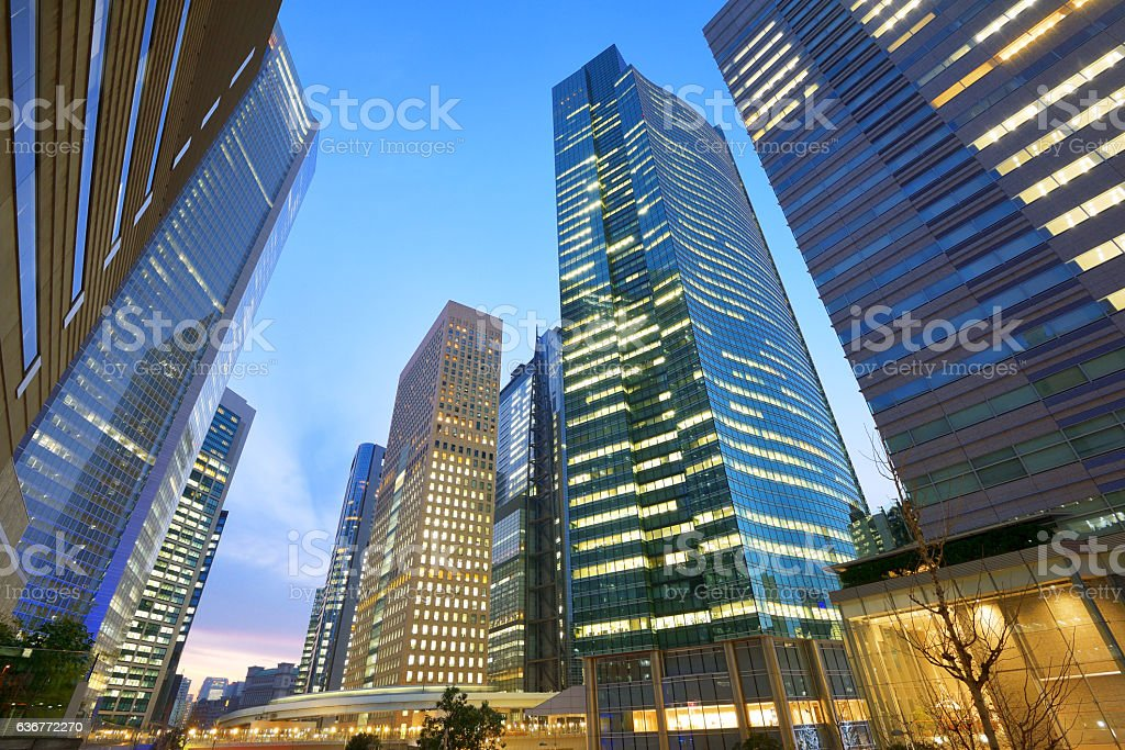 High-rise buildings at sunset - Higashi Shimbashi, Minato-ku, Tokyo, Japan stock photo
