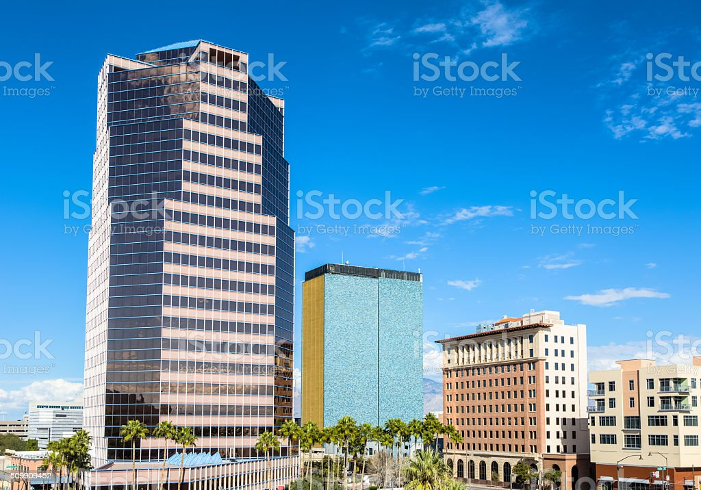 High-rise Buildings Dwarf Palm Trees in Heart of Downtown Tucson stock photo