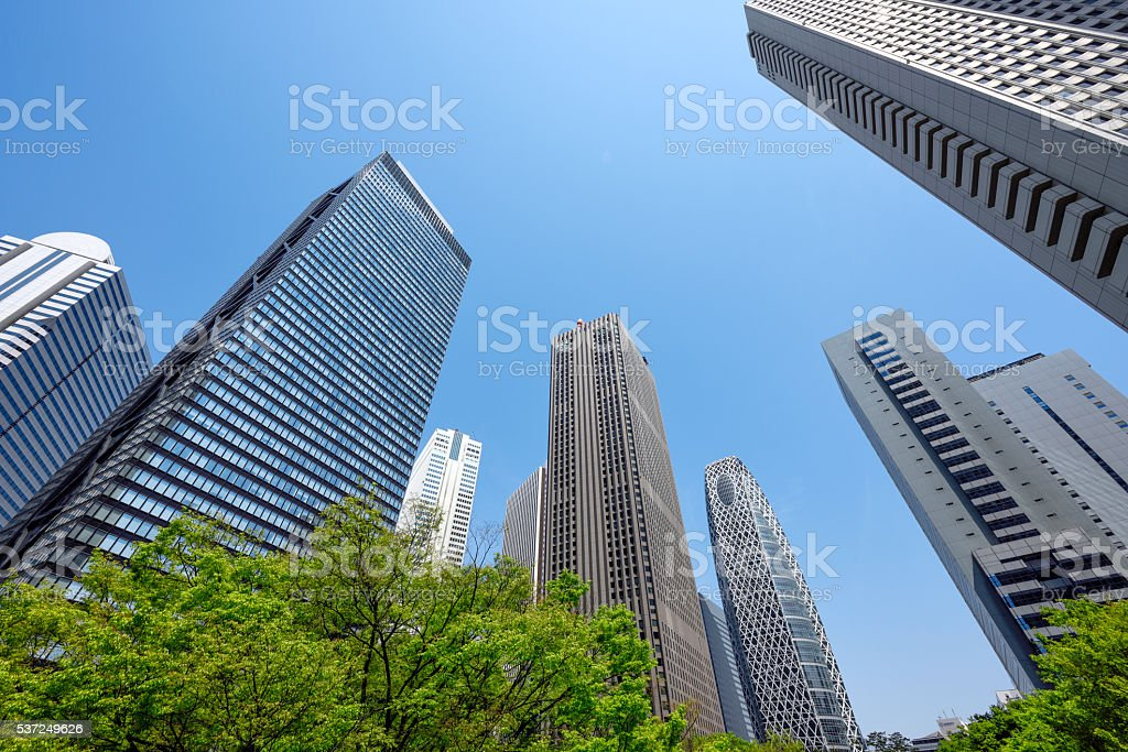 High-rise buildings of fine weather - Shinjuku, Tokyo, Japan stock photo