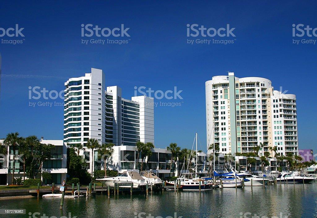 Highrise Condominiums and Marina stock photo