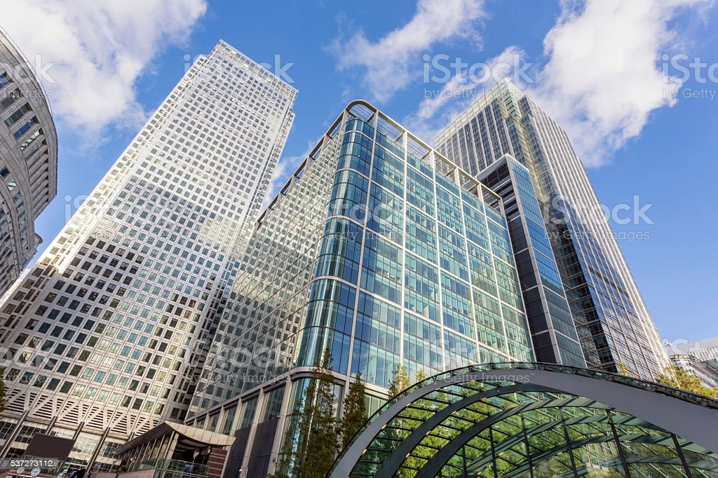 High-rise corporate office buildings in Canary Wharf, London stock photo