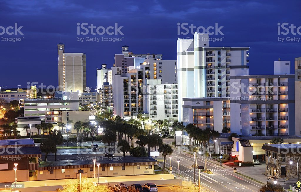 High-rise hotels along the Myrtle Beach shoreline royalty-free stock photo