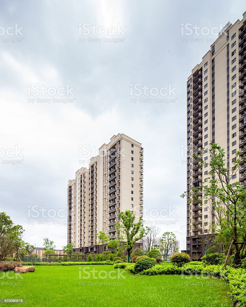 High-rise residential buildings and beautiful landscape. stock photo