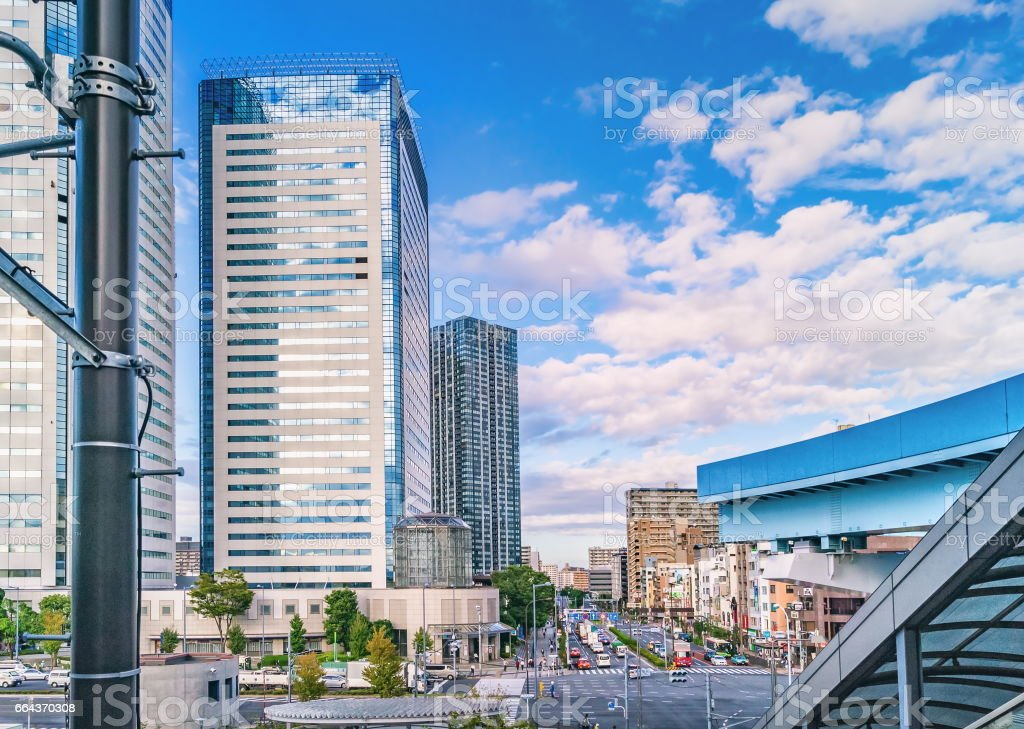 High-rise residential buildings in modern Tokyo stock photo