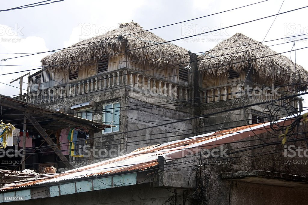 High-rise thatched homes stock photo