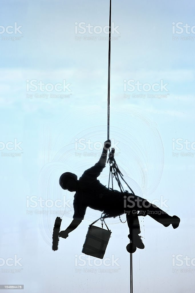 High-rise window cleaner. stock photo