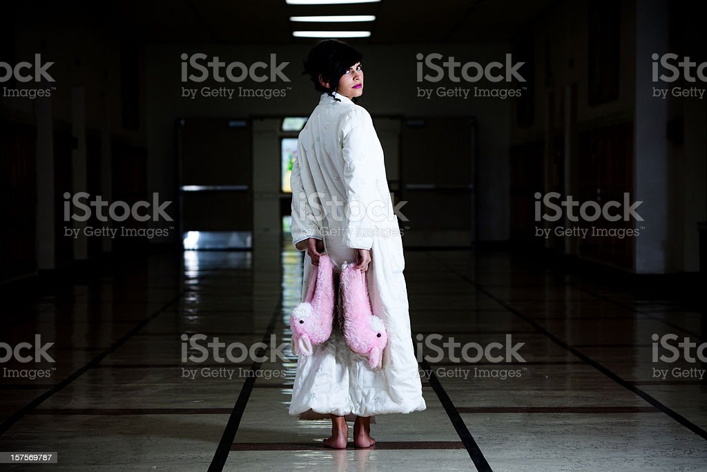 Highschool nightmare and pink bunny slippers royalty-free stock photo