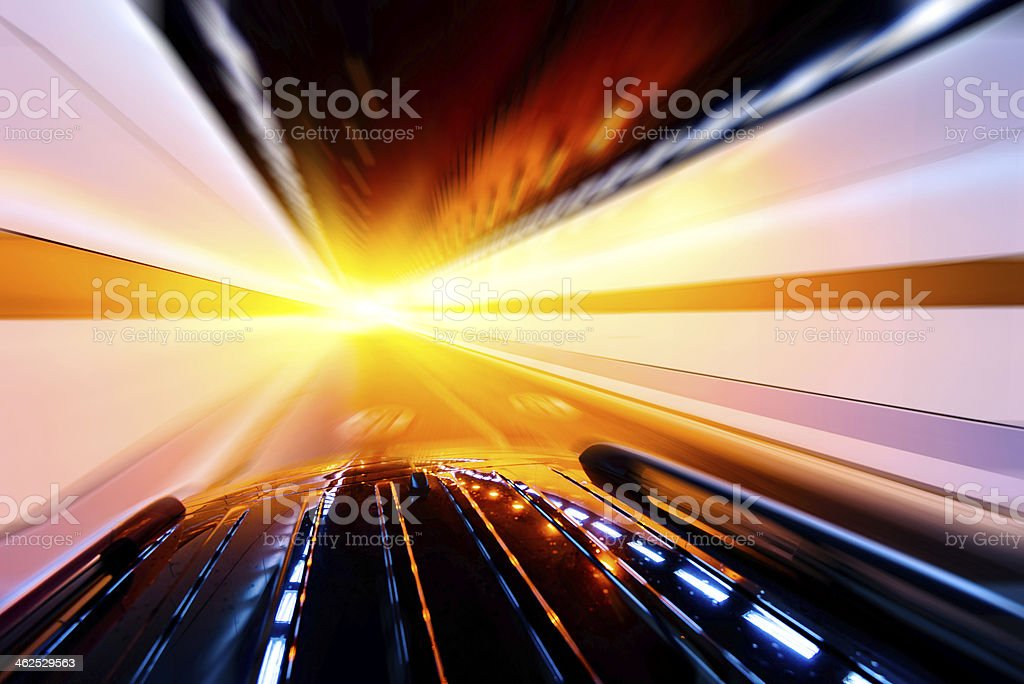 High-speed car in the tunnel, Motion Blur stock photo
